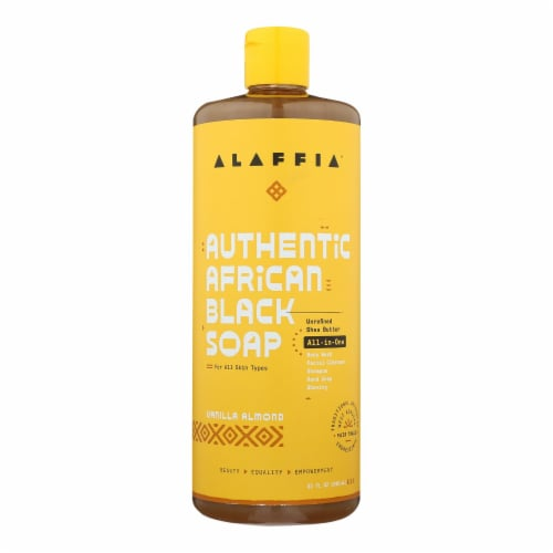 Alaffia Authentic African Black Soap Vanilla Almond Perspective: front