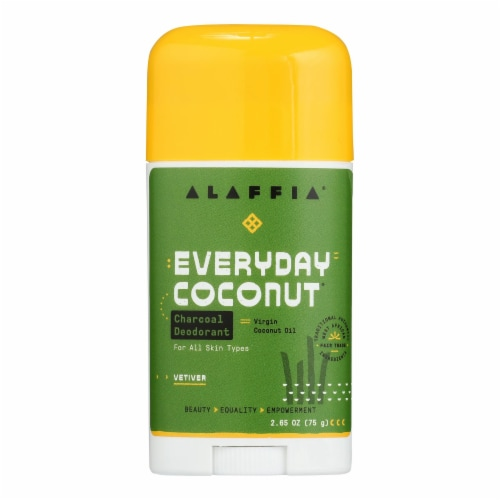 Alaffia  Deodorant with Activated Charcoal & Reishi Coconut Vetiver Perspective: front