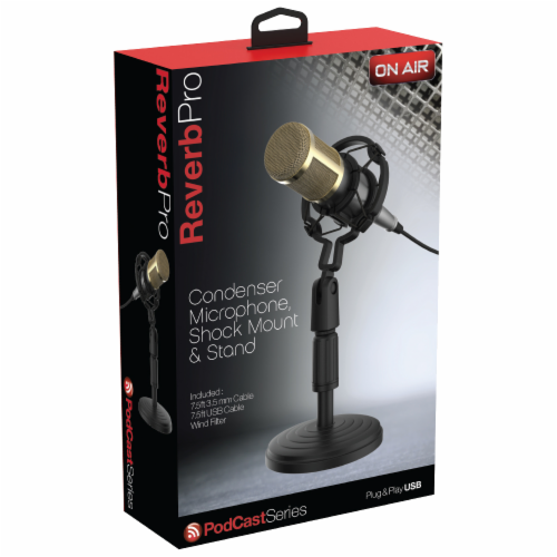 Tzumi On Air Podcast Series Reverb Pro Condenser Microphone Set Perspective: front