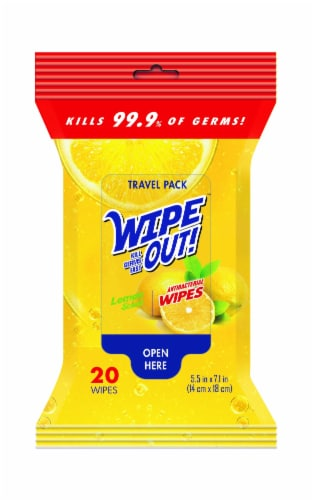 Wipe Out! Lemon Scent Anti Bacterial Wipes Perspective: front