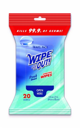 Wipe Out! Antibacterial Fresh Wipes 20 Count Perspective: front