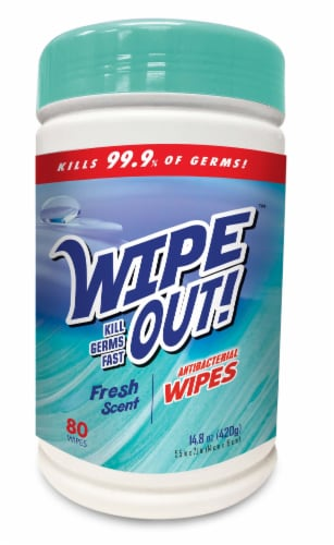 Wipe Out! Antibacterial Fresh Wipes 80 Count Perspective: front