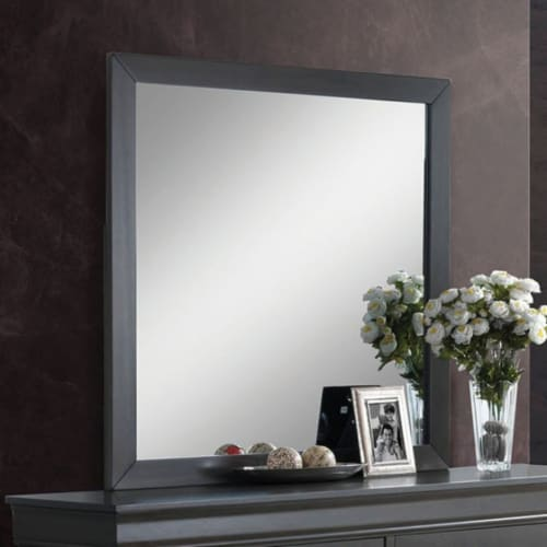 Saltoro Sherpi Sassy Wooden Square Mirror, Gray Perspective: front