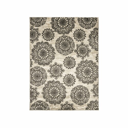 Saltoro Sherpi Nylon and Latex Area Rug With Flower Pattern, Small, Black and Beige Perspective: front