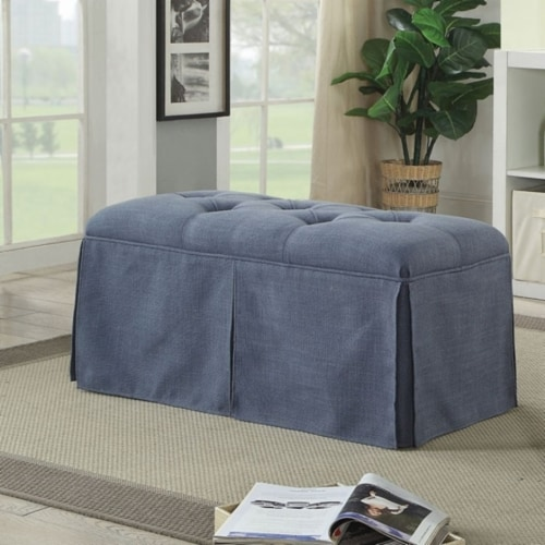 Saltoro Sherpi Rectangular Button Tufted Fabric Upholstered Bench With Storage, Blue Perspective: front