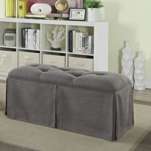 Saltoro Sherpi Rectangular Button Tufted Fabric Upholstered Bench With Storage, Gray Perspective: front