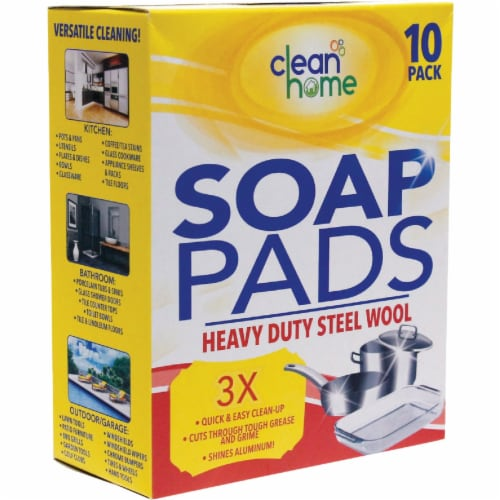 Clean Home Heavy-Duty Steel Wool Soap Pads (10-Pack) HS-100494 Pack of 24 Perspective: front