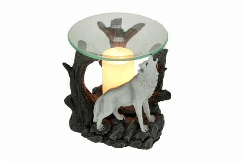 Starlight Symphony Howling White Wolf Electric Essential Oil Burner Aroma Lamp Perspective: front