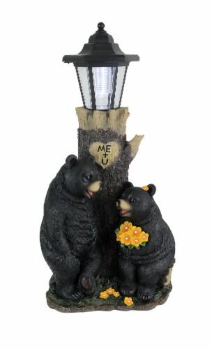 Bear First Date Solar LED Lantern Statue Outdoor Decorative Garden Light Figure Perspective: front