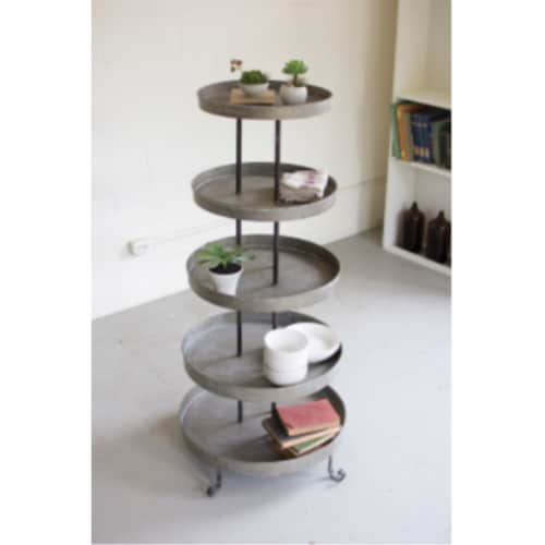Five Tiered Round Metal Display Tower 29 D X 5 1 T Perspective: front