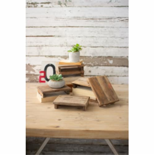 Set Of 6 Repurposed Rectangle Wooden Riser Approx 6  X 8  X 2 T Perspective: front