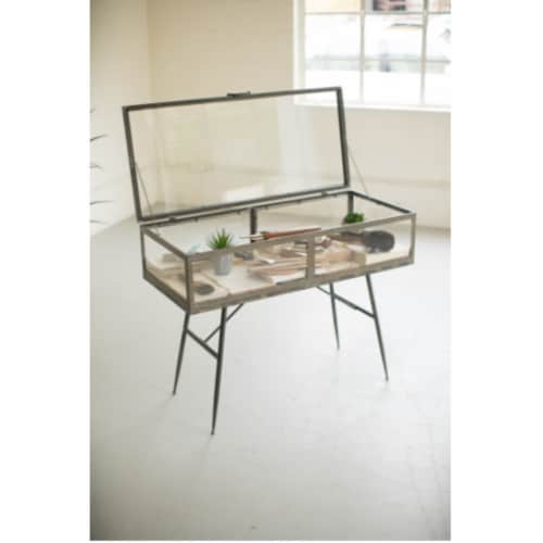 Metal Framed Glass Display Cabinet 18  X 39.5  X 30 T Perspective: front