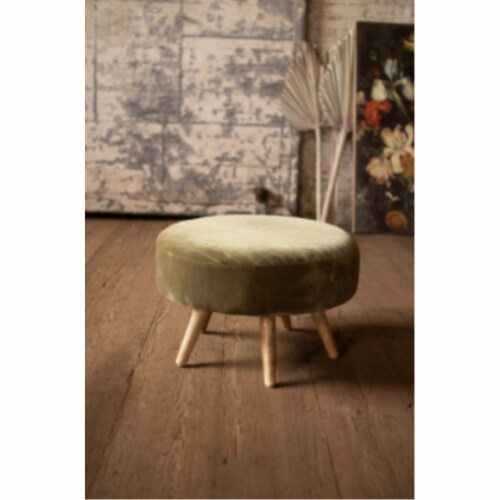 Velvet Ottoman With Wooden Legs  -  Avocado 24 D X 16 T Perspective: front