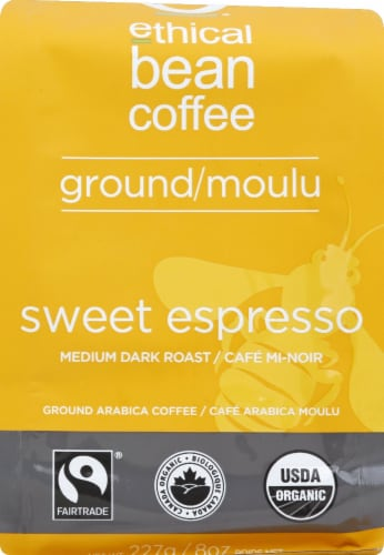 Ethical Bean Coffee Sweet Espresso Medium Dark Roast Ground Coffee Perspective: front
