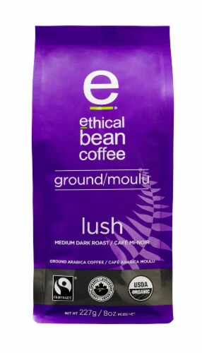 Ethical Bean Coffee Lush Medium Dark Roast Ground Arabica Coffee Perspective: front