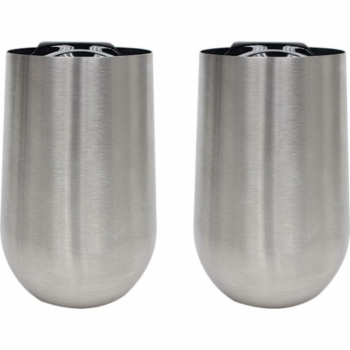 XPAC 2 Piece - 16 Ounce Stainless Steel Stem-Less Wine Glass with Lid Perspective: front