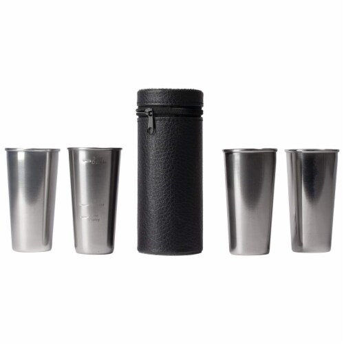 Maxam Stainless Steel 4-Piece Double-Shot Sized Shot Glass Set with Carrying Case Perspective: front