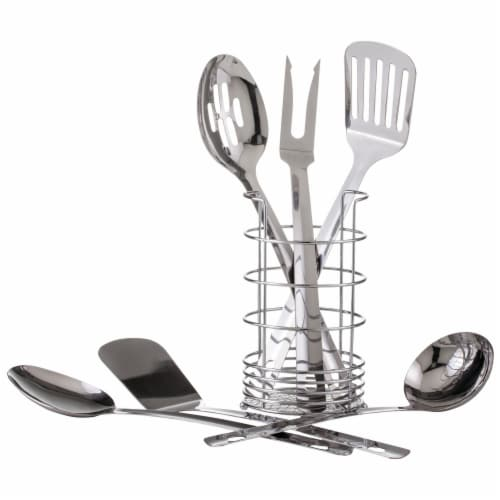 7-Piece Stainless Steel Kitchen Set w/ Meat Fork, 2 Spatulas, 2 Spoons, Ladle and Caddy Perspective: front
