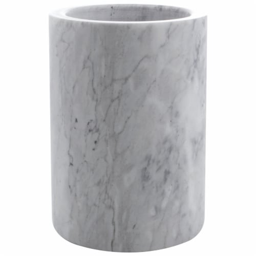 HealthSmart Marble Kitchen Utensil Holder 5 X 7 Inches Gray and White Perspective: front