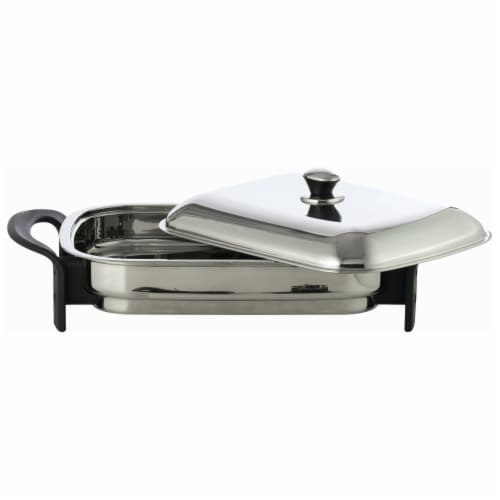 """Precise Heat T304 Stainless Steel 16"""" Rectangular Electric Skillet Perspective: front"""