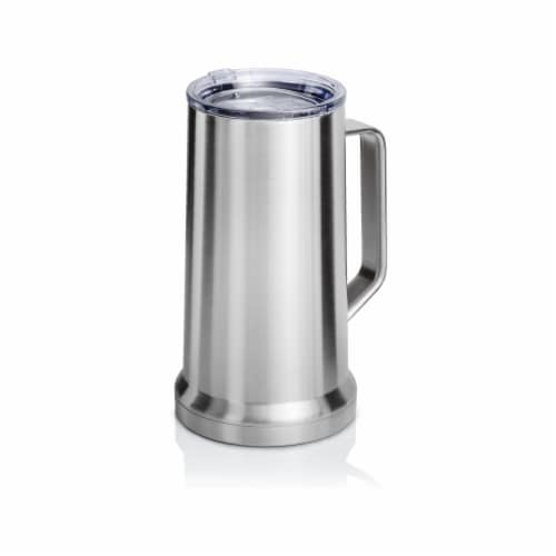 22 Ounce Beer Mug with Lid and Handle, Stainless Steel, Vacuum Insulated Stein Perspective: front