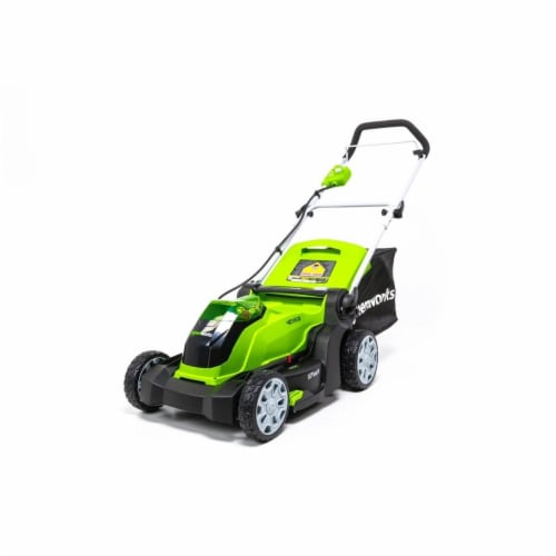 Greenworks 2506402 17 in. Deck 40V Cordless Lawn Mower, Green & Black Perspective: front