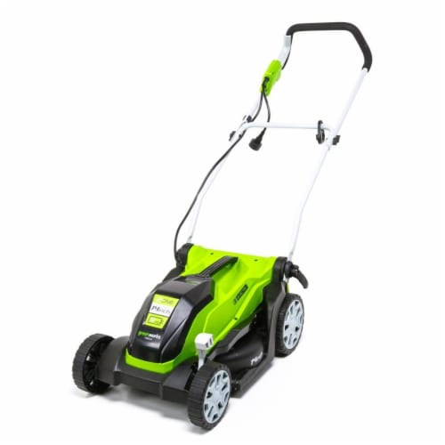 Greenworks 2507402 14 in. Corded Electric 9A Lawn Mower, Green & Black Perspective: front