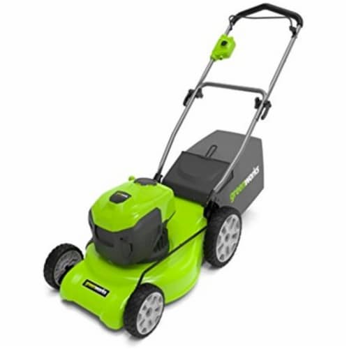 Greenworks 2507602 20 in. 12A Corded Lawn Mower, Green & Black Perspective: front
