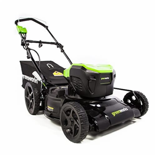 Greenworks 2507702 21 in. 13A Corded Lawn Mower, Green & Black Perspective: front