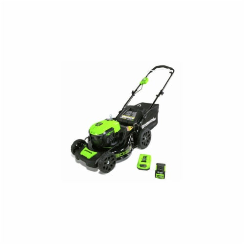 Greenworks 2507802 21 in. 40V Corded Lawn Mower with 4AH Battery, Green & Black Perspective: front