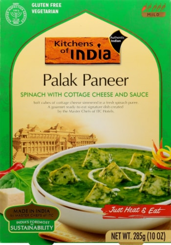Kitchens of India Spinach with Cottage Cheese & Sauce Perspective: front