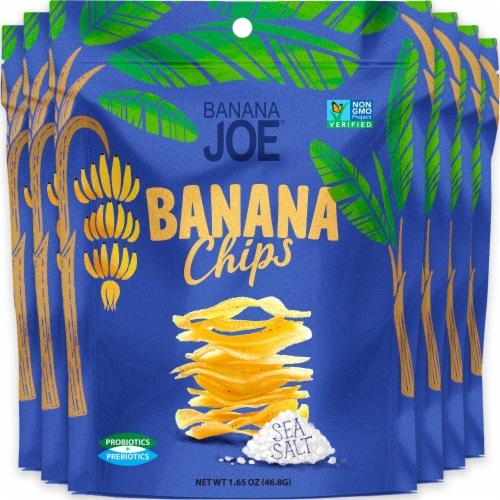 Banana Chips Sea Salt (6 Packs) Gluten Free, Vegan, no sugar added, healthy chips Perspective: front