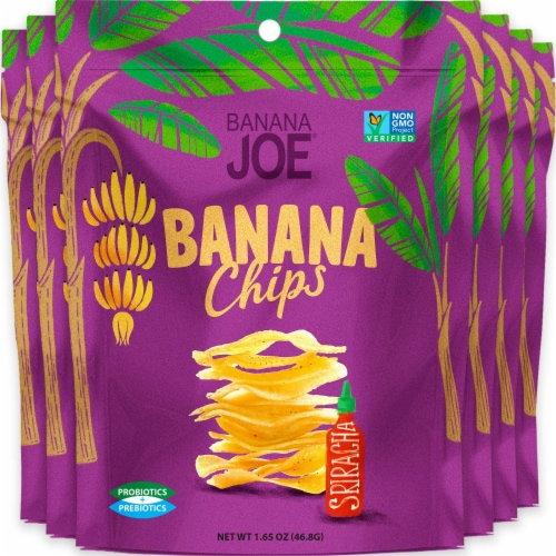 Banana Chips Sriracha (6 Packs) Gluten Free, Vegan, healthy chips for kids adults Perspective: front