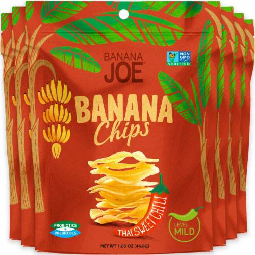 Banana Chips Thai Sweet Chilli (6 Packs) Gluten Free, Vegan, healthy chips, Non GMO Perspective: front