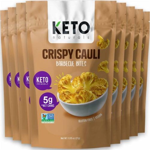 Cauliflower Chips Keto bites cauliflower vegetable bites BBQ (8 Packs) gluten free, vegan Perspective: front