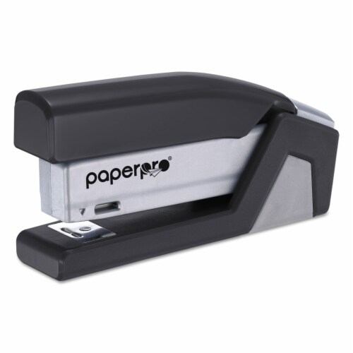 Bostitch Injoy Spring-Powered Compact Stapler, 20-Sheet Capacity, Black 1510 Perspective: front