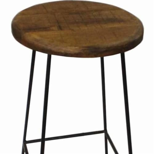 Saltoro Sherpi Industrial Style Iron Base Barstool with Round Mango Wood Seat, Brown and Perspective: front