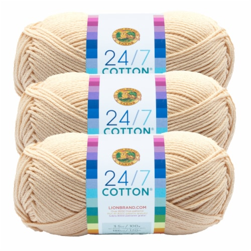 Lion Brand Yarn 761-098 24-7 Cotton Yarn Skeins - Ecru Perspective: front