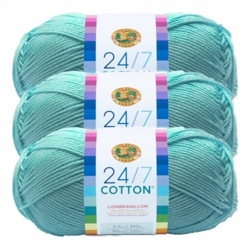 Lion Brand Yarn 761-102 24-7 Cotton Yarn Skeins - Aqua Perspective: front