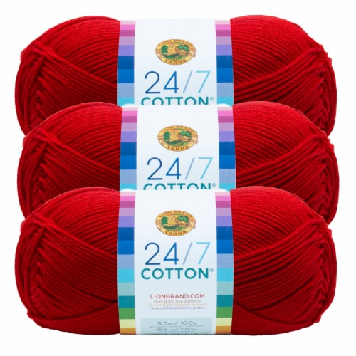 Lion Brand Yarn 761-113 24-7 Cotton Yarn Skeins - Red Perspective: front