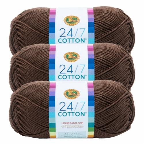 Lion Brand Yarn 761-126 24-7 Cotton Yarn Skeins - Cafe Au Lait Perspective: front