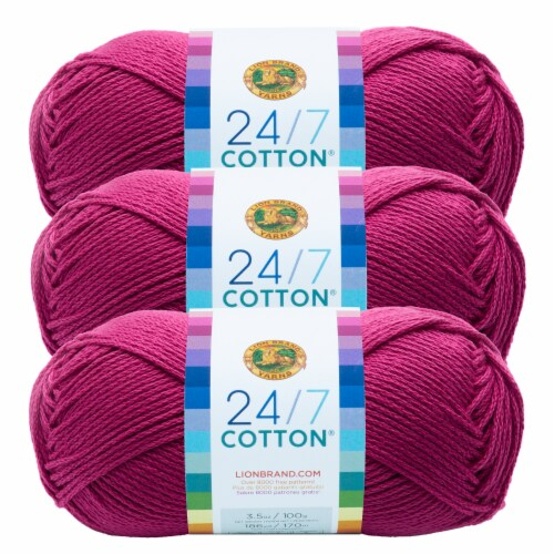 Lion Brand Yarn 761-142 24-7 Cotton Yarn Skeins - Rose Perspective: front