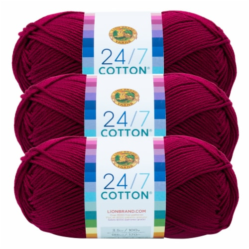 Lion Brand Yarn 761-144 24-7 Cotton Yarn Skeins - Magenta Perspective: front