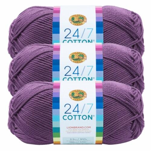 Lion Brand Yarn 761-147 24-7 Cotton Yarn Skeins - Purple Perspective: front