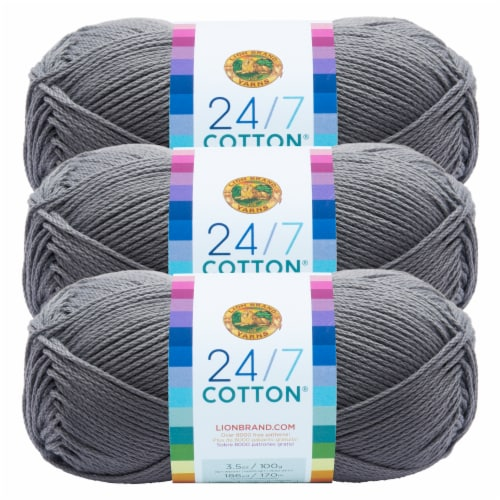 Lion Brand Yarn 761-149 24-7 Cotton Yarn Skeins - Silver Perspective: front