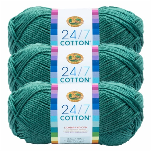 Lion Brand Yarn 761-178 24-7 Cotton Yarn Skeins - Jade Perspective: front