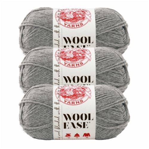 Lion Brand Yarn 620-151 Wool-Ease Yarn Skeins - Gray Heather Perspective: front
