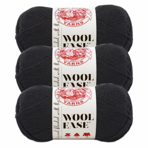 Lion Brand Yarn 620-153 Wool-Ease Yarn Skeins - Black Perspective: front