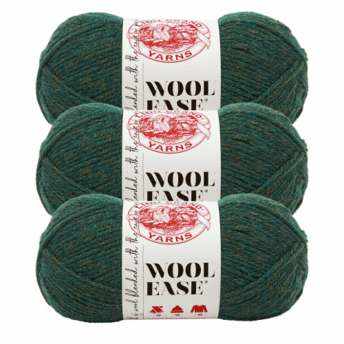 Lion Brand Yarn 620-180 Wool-Ease Yarn Skeins - Forest Green Heather Perspective: front
