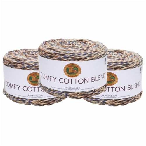Lion Brand Yarn 756-710 Comfy Cotton Yarn Cakes - Driftwood Perspective: front